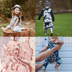 toddlers in rompers suits and little girl in pretty dress and hat by british artisans and handmade