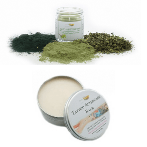 funky soap company matcha detoxifying face mask and tattoo after care balm cream, british skincare products