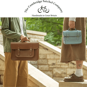 young man and girl holding british made satchels by the cambridge satchel company