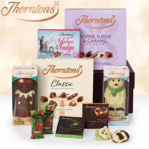 thorntons chocolates selection of Christmas chocolatee boxes including chocolate nowmen and chocolate advent calendar made in derbyshire england