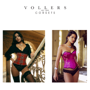 vollers corsets, made in england luxury corsets, women wearing tartan corset,