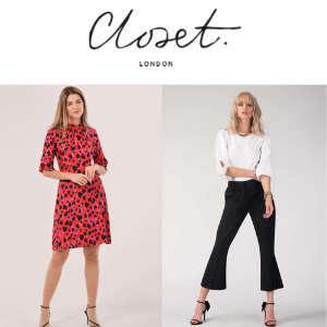 two women wearing closet london women's clothes made in UK day dress and flared bottom trousers, women's clothes made in britain