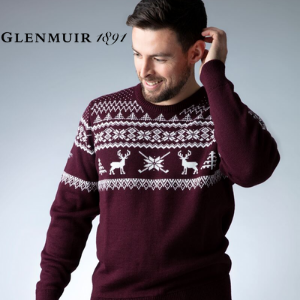 glenmuir made in uk scotland christmas cashmere knitted sweater jumper, british made men's clothing