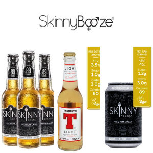 skinny booze brands of bottled low carb premium lager and tennents low carb lager, best british lagers