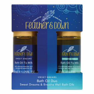 feather and down bath oil set, gifts under £20