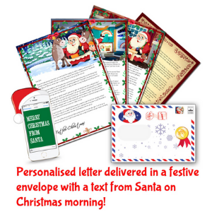 santa letter direct, get a personalised letter from santa and text on christmas morning