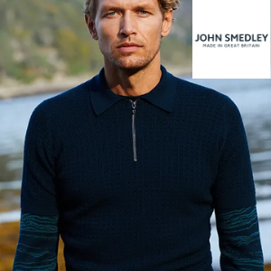 man wearing john smedley knitted jumper from the outlet store, made in great britain