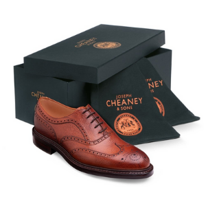 joseph cheaney and sons luxury men's shoes made in england, men's brown brogue leather shoes in luxury gift box by cheaney