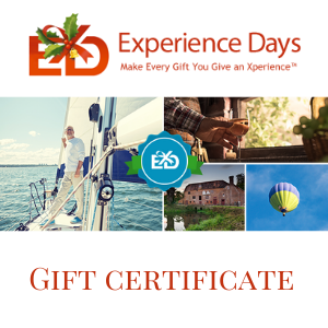 experience days gift card certificate for £20