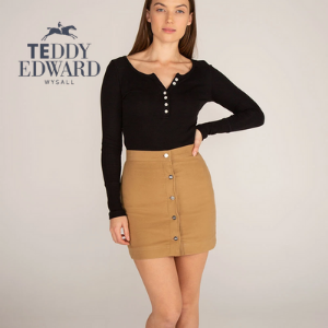 woman wearing cord molesking short brown skirt and black long sleeve e button top from teddy edward luxury british clothing made in uk, women's clothes made in britain