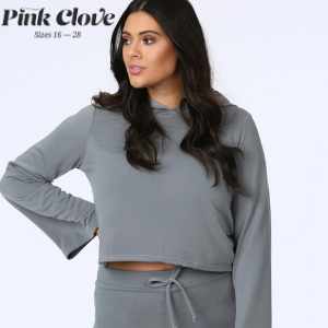 plus size you woman wear gret hoodie and matching lounge pants from pink clove, made in uk, women's clothes made in britain