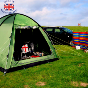 green tent camping in field, British outdoor equipment