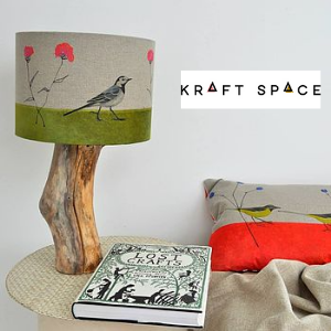kraftspace pied wagtail handmade lamp and cushion, made in great britain