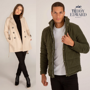 teddy edward lucury quilted coats on sale, made in britain