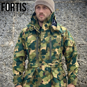 man in camouflage smock by fortis clothing made in great britain