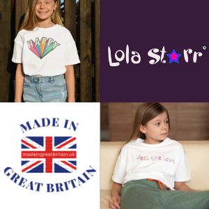 lola starr british made kidswear t shirt for girls with happy slogan, made in uk childrens clothes