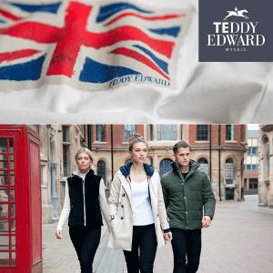 teddy edward luxury british made clothing men and women, union jack flag logo on clothing