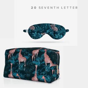 20 seventh letter silk giraffe travel cosmetic bag and silk koala eye mask made in uk