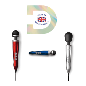 doxy massager red blue and silver powerful vibrator made in uk, hitachi wand massager