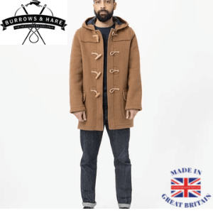 Burrows ad Hare brown repellent wool duffle coat made in England