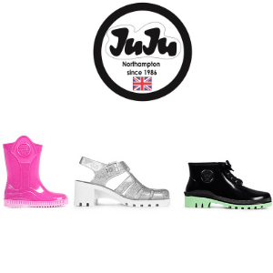 juju jelly shoes and wellies made in the uk, juju pink wellies for kids, juju silver sandals for girls