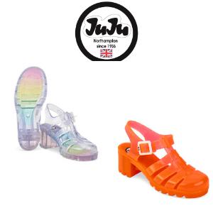 juju ladies womens' jelly shoes rainbow heel and orange heel, juju jelly shoes made in uk