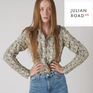 julian road classic country garden cotton shirt worn by a ginger haired skinny model made in uk