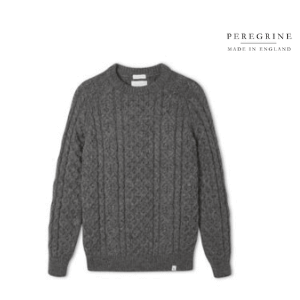 grey hudson aran jumper by peregrine clothing made in britain and sold by sir gordon bennett, british made men's clothes