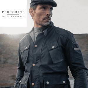 man wearing a peregrine navy wax jacket made in uk