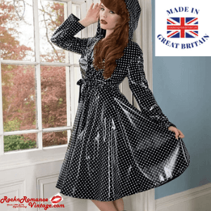 rock and romance vintage hand made polka dot black and white rain coat for women