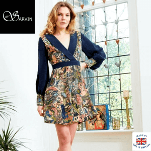 woman wearing a hand painted dress by sarvin made in uk