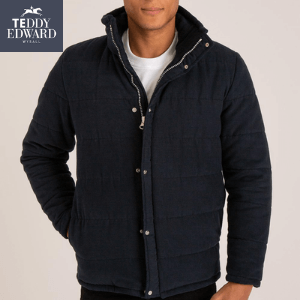teddy edward navy harry quilted coat made in britain