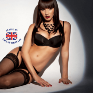 british business directory, underwear and swimwear category, attractive woman in black lingerie and stockings