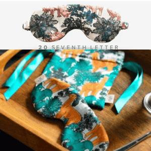 20 seventh letter silk eye mask rhino and llama gift set made in uk