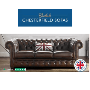 brown leather chesterfield sofa 3 and 2 seater made in uk