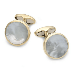 9ct gold and mother of pearl cufflinks for men by benson and clegg made in england gift
