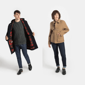 gloverall made in england navy duffle coat for men and camel short duffel winter coat for a woman