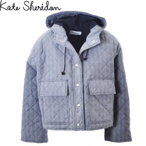 kate sheridan prince of wales quilted and waxed pop jacket grey for women made in great britain