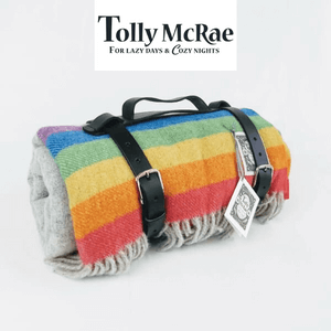 tolly mcrae rainbow luxury picnic blanket made in great britain