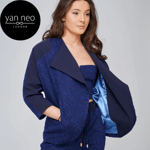 yan neo london navy jacket and trouser suit made in uk