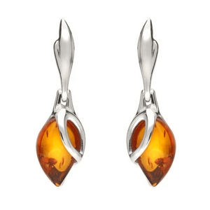 silver amber leaf tear drop earrings made in Britain by c w sellors