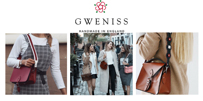gweniss crossbody handbag and shoulder bag worn by women in uk street, made in england, best british handbag brands, british handbags, designer bags made in britain