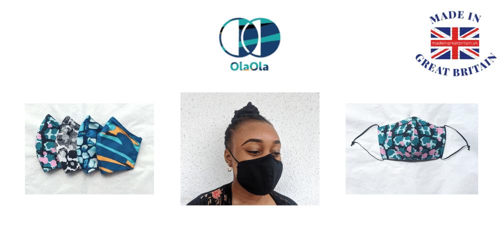 ola ola, british made face masks, uk made face masks, black woman wearing a face mask