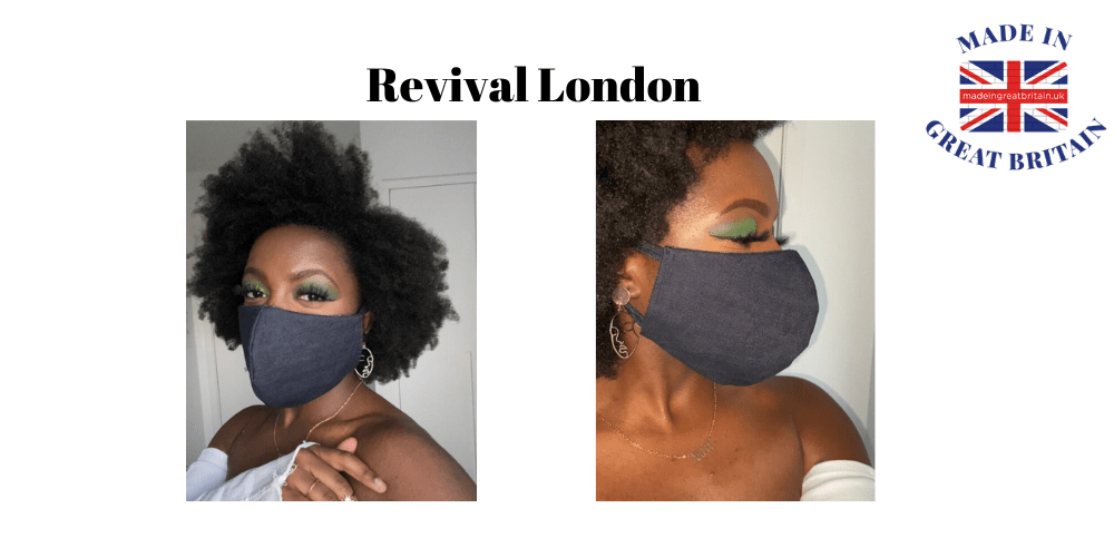 revival london, black woman with afro hair wearing a denim face mask