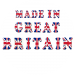 Made in Great Britain text with each letter covered in the union jack flag of Great Britain