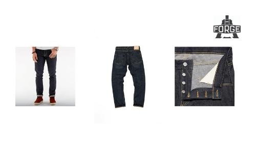 Best UK denim brands, forge denim, mens jeans, close up, steel buttons