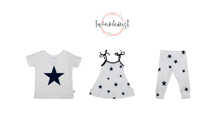 twinkle dust, star design toddler clothes, made in england, baby and toddler clothing, made in englnad
