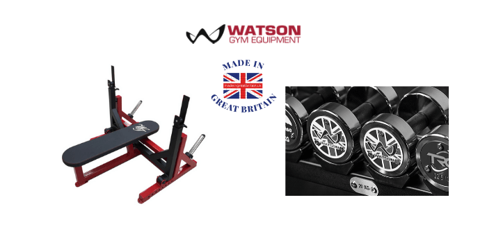 watson gym equipment, weight bench, dumb bells, made in britain