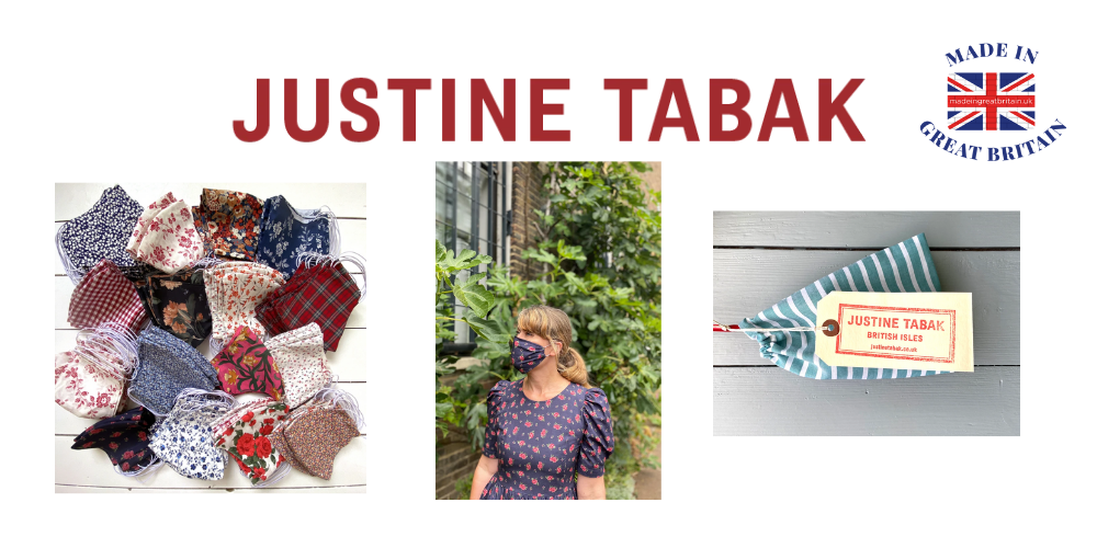 justine tabak, britsh face masks, floral pattern face masks, made in britain, reuable face masks