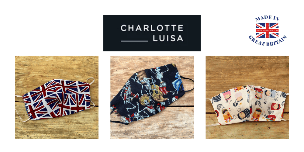 charlotte luisa, handbags and face masks, union jack face masks